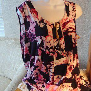 Ellen Tracy Pink & Black Zip Up Blouse Size Large